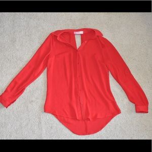 Candie's Red Button-Down Blouse